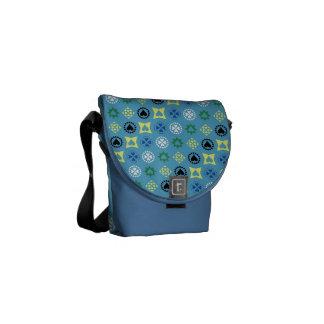 COUNTRY BLUE STRIPES PATTERN FLORAL DOTS TEXTURES MESSENGER BAG