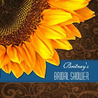 Country Blue Sunflower Bridal Shower Invitations invitation