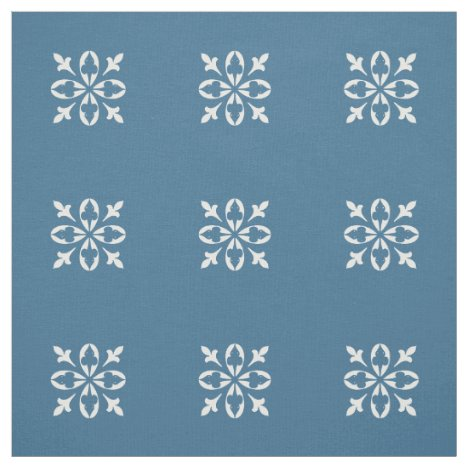 Country Blue with white damask pattern Fabric
