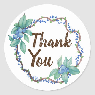 Country Blueberry Wreath Thank You Classic Round Sticker