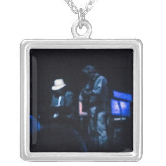 Country Blues Musicians Shadowy Impression Silver Plated Necklace