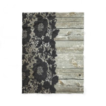 country bohemian Black lace old rustic barn wood Fleece Blanket
