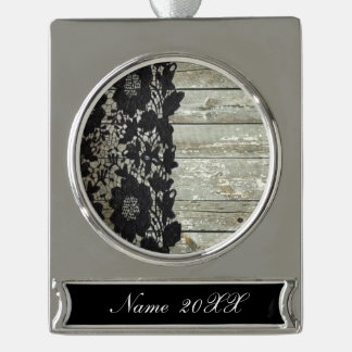 country bohemian Black lace old rustic barn wood Silver Plated Banner Ornament
