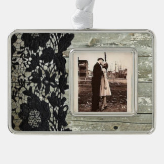 country bohemian Black lace old rustic barn wood Silver Plated Framed Ornament