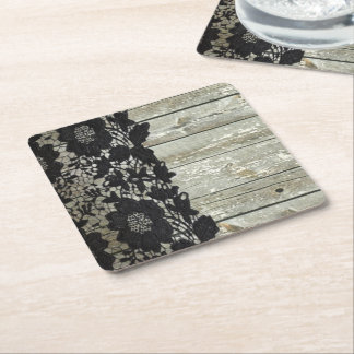 country bohemian Black lace old rustic barn wood Square Paper Coaster