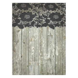 Country Bohemian Black Lace Old Rustic Barn Wood Tablecloth