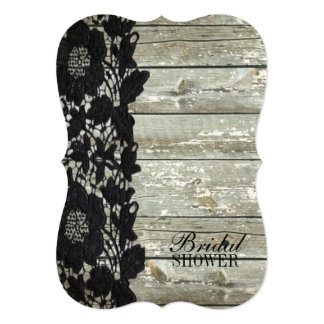 country bohemian Black lace old rustic barnwood Card