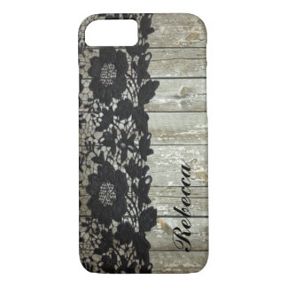 country bohemian Black lace old rustic barnwood iPhone 7 Case