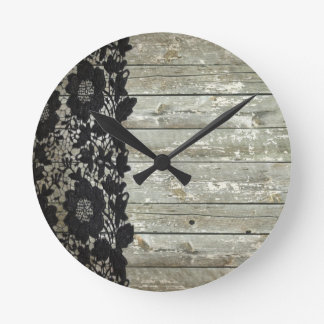 country bohemian Black lace old rustic barnwood Round Clock