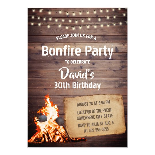 Country Bonfire Party Rustic String Light Birthday Invitation