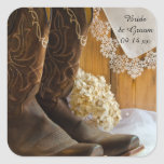 Country Boots and Lace Wedding Envelope Seals Square Stickers