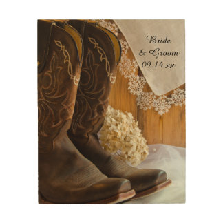 Country Boots and Lace Wedding Wood Canvas