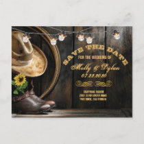 Country Boots Hat & Barn Wood Save the Date Announcement Postcard
