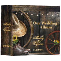 Country Boots Hat, Barn Wood Wedding Album Binder