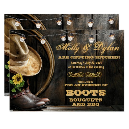 Country Boots Hat Barn Wood Wedding Invitations