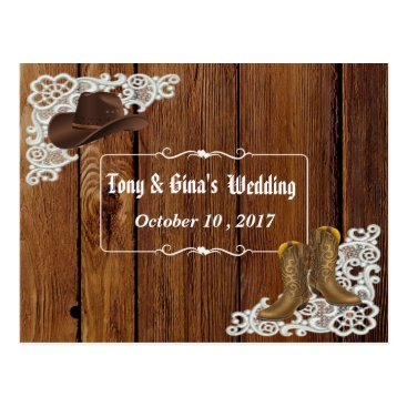 simply_rantastic Country Boots & Lace Wedding RSVP Postcard