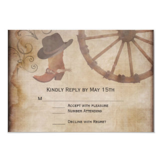 Country Boots Wagon Wheel Wedding RSVP Cards