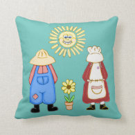 Country Boy and Girl Square Pillow