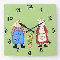 Country Boy and Girl Square Wall Clock