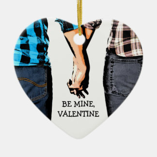 Country Boy and Girl Valentine's Couple Ceramic Ornament