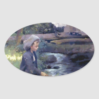Country Boy Fishing painting Oval Sticker