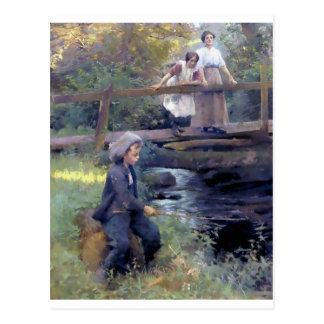 Country Boy Fishing painting Postcard