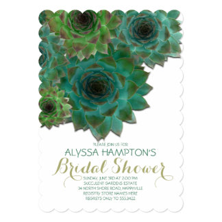 Country Bridal Shower Green Succulents Card
