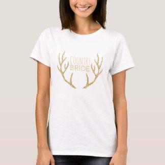 Country Bride Rustic Wedding Gold Deer Antlers T-Shirt