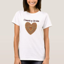 Country Bride Rustic Wooden Hearts Twine Bow T-Shirt