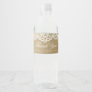 Country, Brown Paper and Lace Water Bottle Label