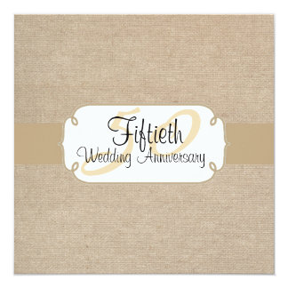 Country Brown Sand Burlap Anniversary Party Card