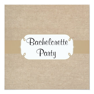 Country Brown Sand Burlap Bachelorette Party 5.25x5.25 Square Paper Invitation Card