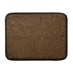 Country Brown Tooled Leather Look MacBook Air Sleeve at Zazzle