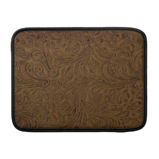 Country Brown Tooled Leather Look Sleeve For MacBook Air