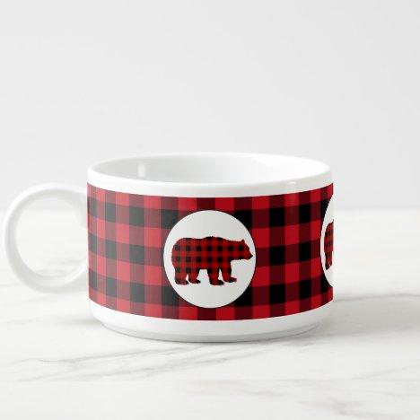 Country Buffalo plaid bear chili bowl