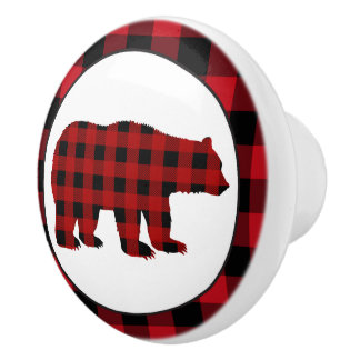 Country buffalo plaid bear kitchen knob