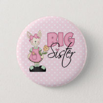Country Bunny Big Sister (pink) Pinback Button
