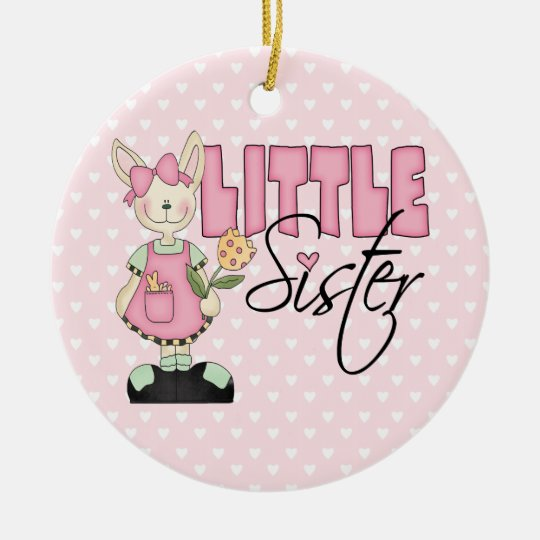 Country Bunny Little Sister (pink) Ceramic Ornament