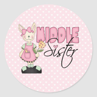 Country Bunny Middle Sister (pink) Classic Round Sticker