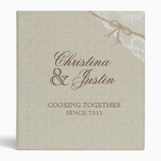 Country Burlap and Lace Look Printed Recipe 3 Ring Binder