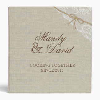 Country Burlap and Lace Look Printed Recipe Binder
