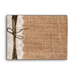 Country Burlap and Lace Twine Print Envelopes