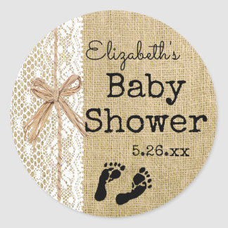 Country Burlap and Lace With Raffia Guest Favor Classic Round Sticker