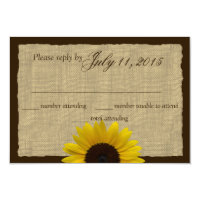 Country Burlap and Sunflower Wedding Response 3.5&quot; X 5&quot; Invitation Card (<em>$1.96</em>)