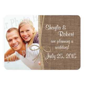 Country Burlap and Twine Photo Save the Date Card