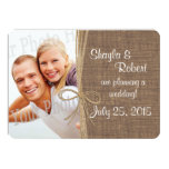 Country Burlap and Twine Photo Save the Date Custom Invite