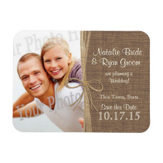 Country Burlap and Twine Save the Date Photo Rectangular Photo Magnet