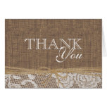 Country Burlap and Twine Thank You Greeting Cards