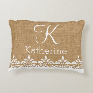 Country Burlap and white damask lace monogram Decorative Pillow