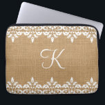 "Country Burlap and white damask lace monogram Laptop Sleeve<br><div class=""desc"">A vintage trendy country burlap print with white damask lace on top,  with the ability to customize a elegant monogram and/or name. Please note this isn&#39;t real burlap but a print/image</div>"